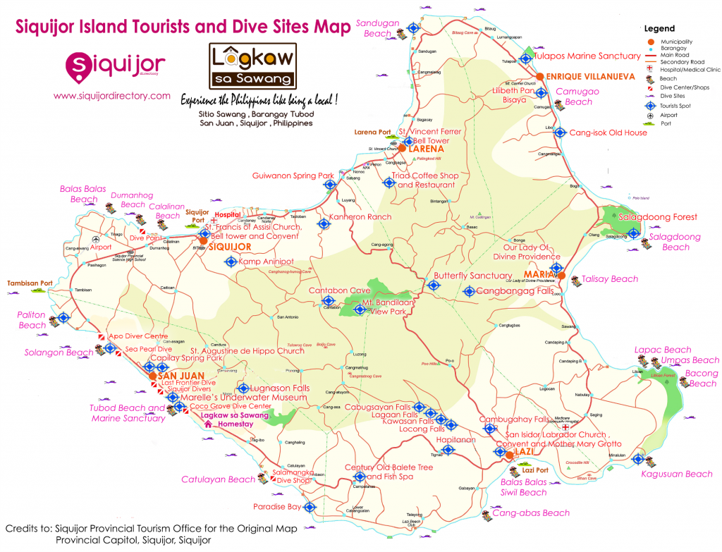 Siquijor Tourist and Dive Sites Map Thumb