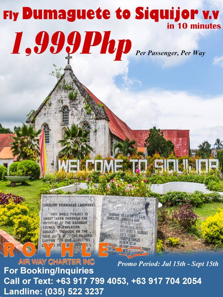 Royhle Air Way Charter Siquijor Dumaguete vice Versa Promo